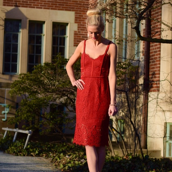 Express Dresses & Skirts - Red Lace Formal Dress from Express - NWOT